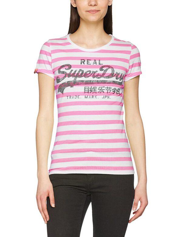 Superdry Damen T-Shirt G10023XODS fluro pink stripe