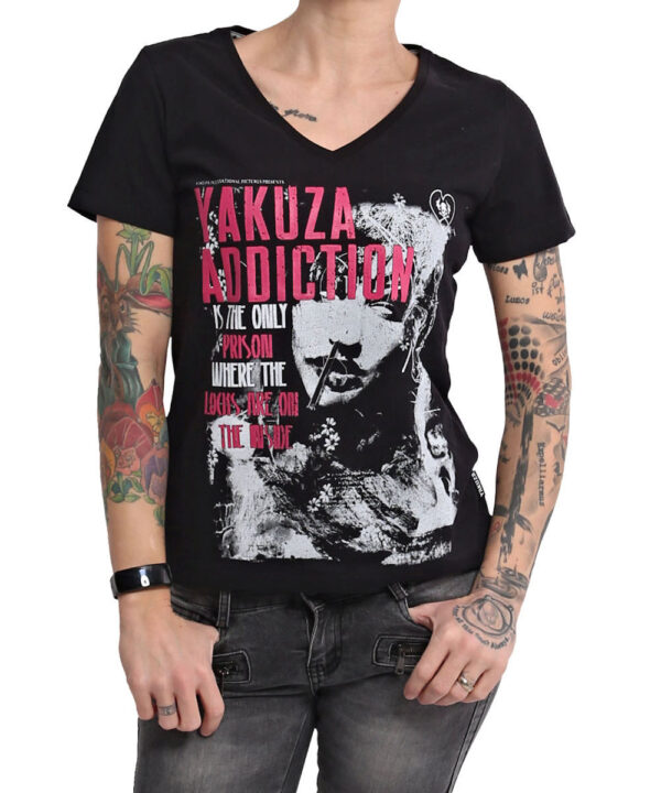 Yakuza Addiction V-Neck T-Shirt GSB-16123 schwarz