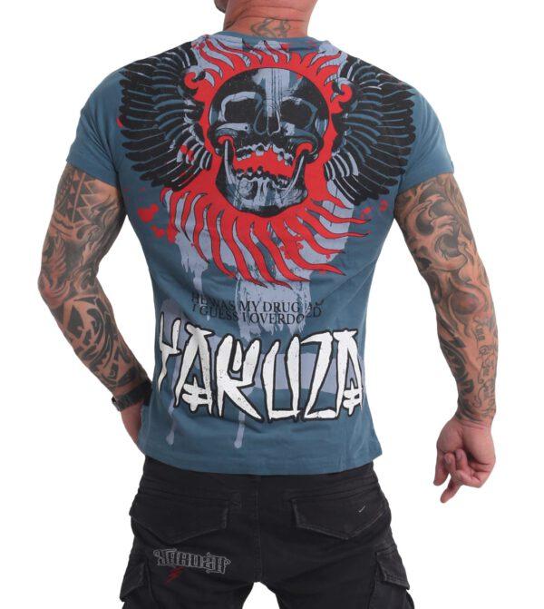 Yakuza Burning Skull T-Shirt TSB-16024 mallard blue