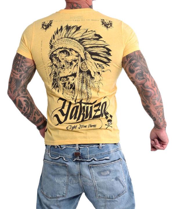 Yakuza Indian Skull T-Shirt TSB-16027 banana cream melange